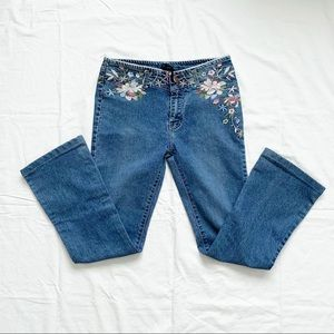 Vintage Floral Embroidered Bootcut Jeans